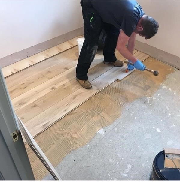 how to lay install engineered wood flooring glue down guide 2