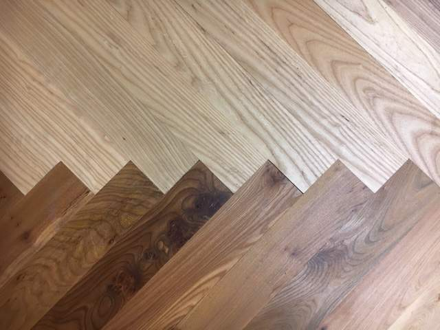 mixed timber oversized parquet flooring