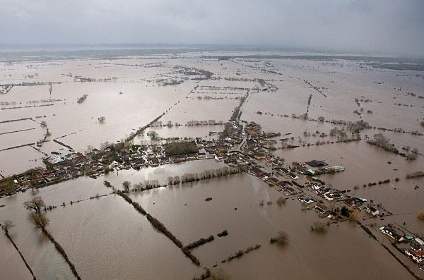 Flooding on the somerset levels 2014 aerial view