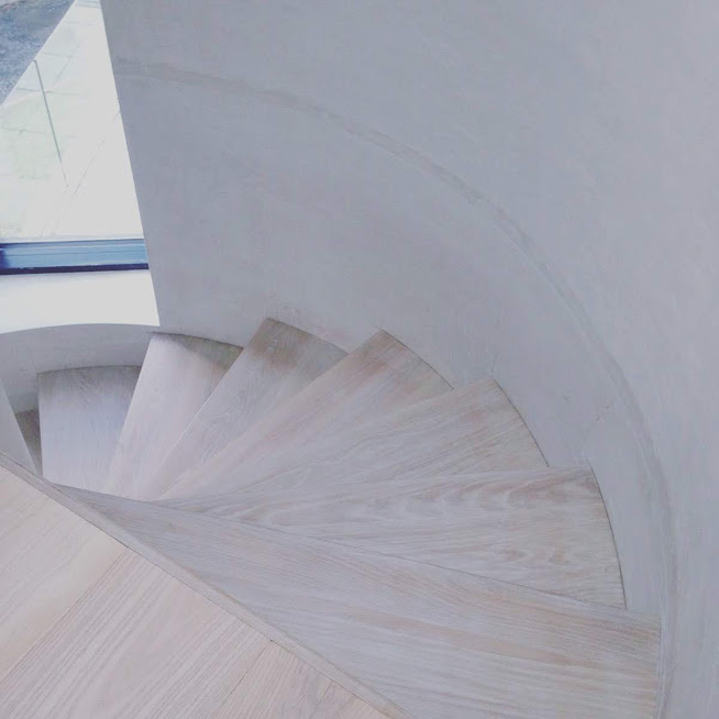 white ash staircase  - douglas fir flooring alternative
